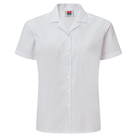 Girls Short Sleeve Revere Collar School Blouse